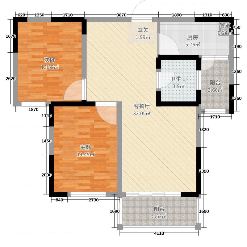 恒威中央领地99.00㎡4号楼0户型2室2厅1卫