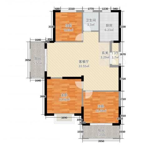 郁金蓝湾3室2厅1卫1厨114.00㎡户型图