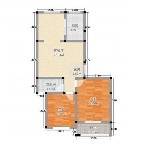 郁金蓝湾2室2厅1卫1厨80.00㎡户型图
