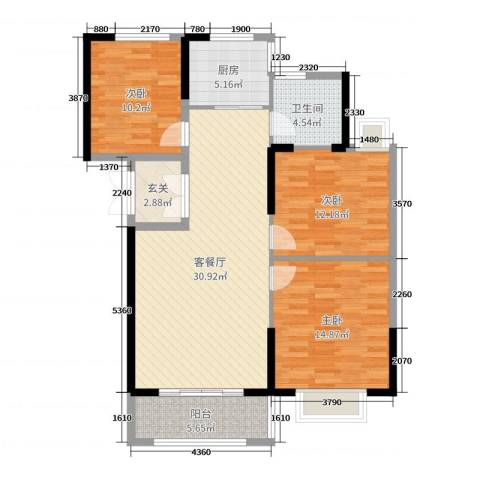 郁金蓝湾3室2厅1卫1厨108.00㎡户型图