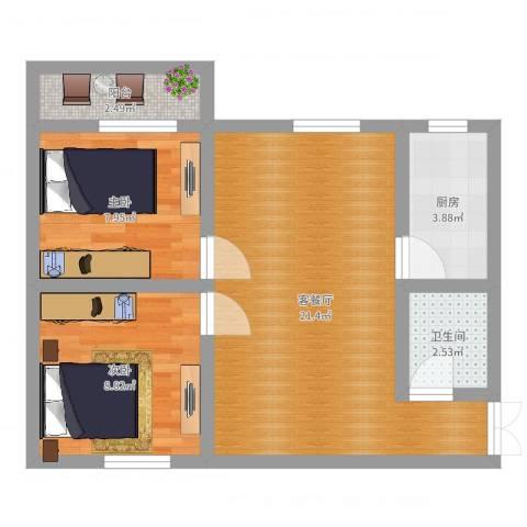 西辛北区2室2厅1卫1厨59.00㎡户型图