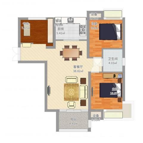 拓基沃野花园2室2厅1卫1厨107.00㎡户型图