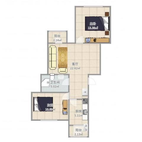 西辛北区2室1厅1卫1厨76.00㎡户型图
