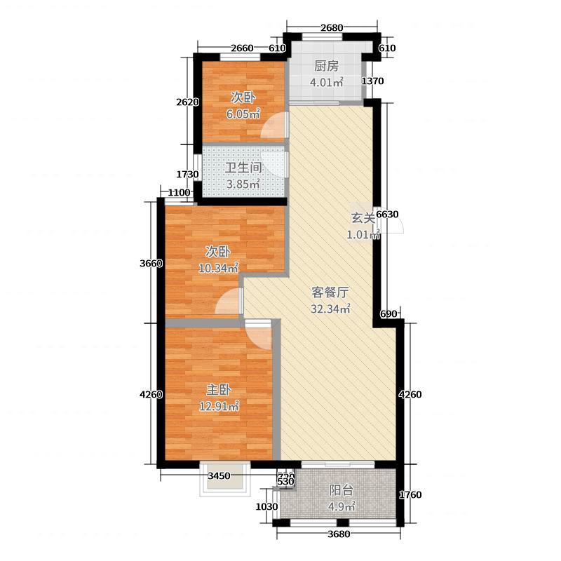 绿洲豪庭93.00㎡一期1#楼标准层02户型3室3厅1卫1厨
