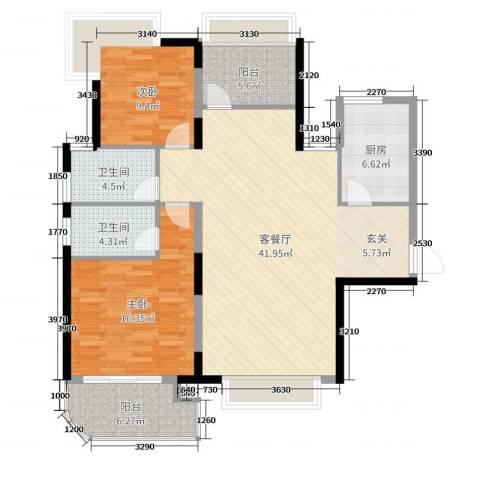 明发摩尔城2室2厅2卫1厨118.00㎡户型图