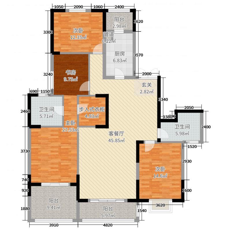 锦绣世纪180.00㎡7栋A户型4室4厅2卫1厨
