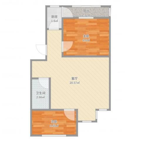 双兴北区2室1厅1卫1厨52.00㎡户型图