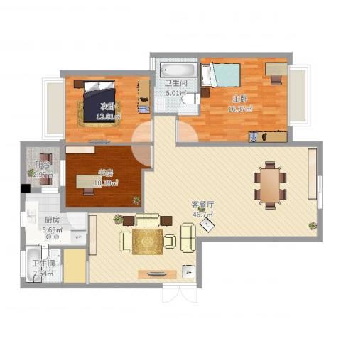和美星城3室2厅2卫1厨129.00㎡户型图