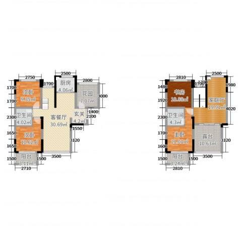 佛奥康桥水岸3室2厅2卫1厨169.00㎡户型图