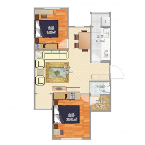 兴盛街187号院2室1厅1卫1厨72.00㎡户型图