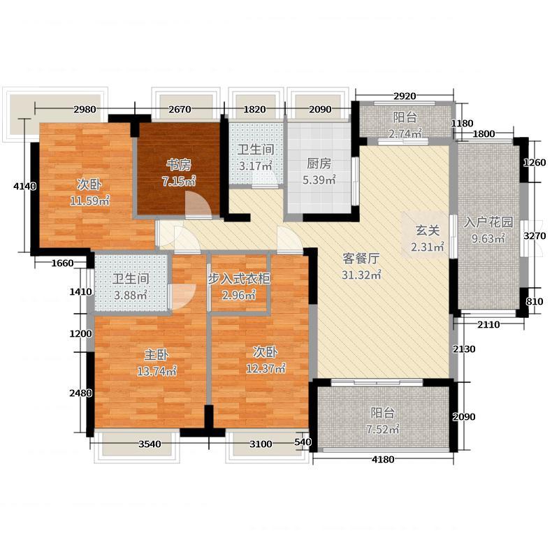 银泰红城二期138.00㎡三期F2/F5-01户型4室4厅2卫1厨