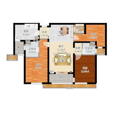 万科・金域东郡3室1厅2卫1厨129.00㎡户型图