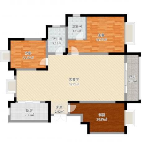康和西岸3室2厅2卫1厨155.00㎡户型图