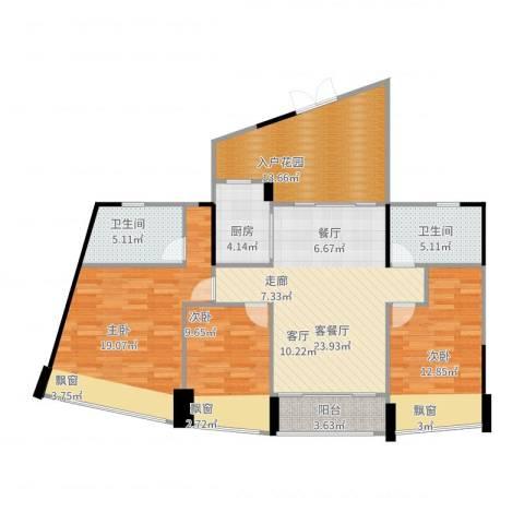 鸿洲・天玺3室2厅2卫1厨132.00㎡户型图