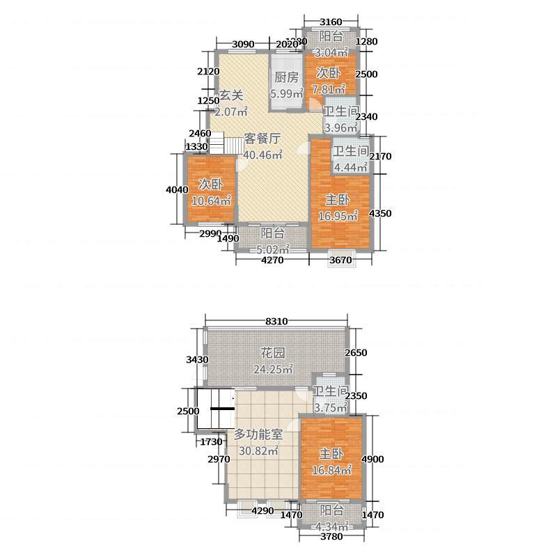 大学里三期182.00㎡3期25栋A11孔雀蓝邸户型4室4厅3卫1厨