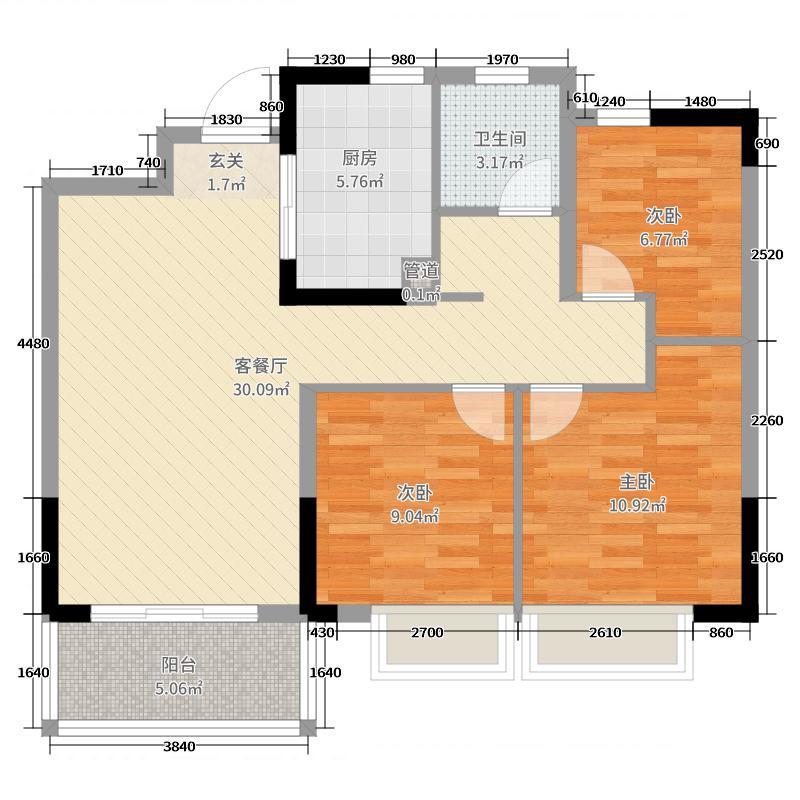 金辉优步花园88.00㎡11#1单元户型3室3厅1卫1厨