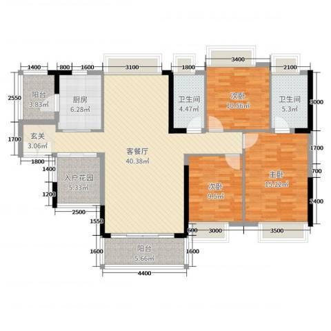 珑・翠3室2厅2卫1厨134.00㎡户型图