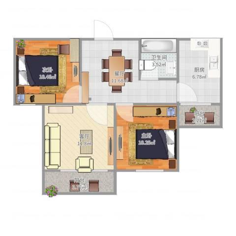 东岳小区2室2厅1卫1厨76.00㎡户型图