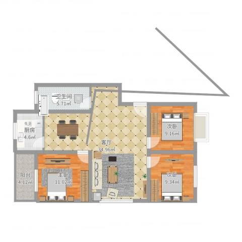 鑫空间地中海风格商业效果图3室1厅1卫1厨99.00㎡户型图