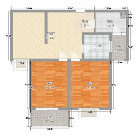 仕方国际2室2厅1卫1厨92.00㎡户型图