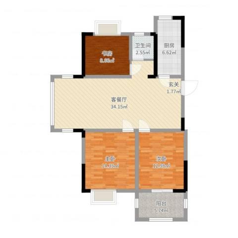 德惠尚书房3室2厅1卫1厨106.00㎡户型图