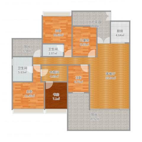 创鸿水韵尚都2栋31035室2厅2卫1厨164.00㎡户型图