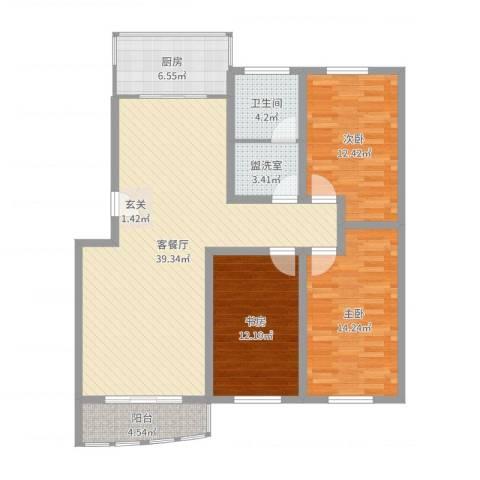 兴业山海天花园3室4厅1卫1厨121.00㎡户型图