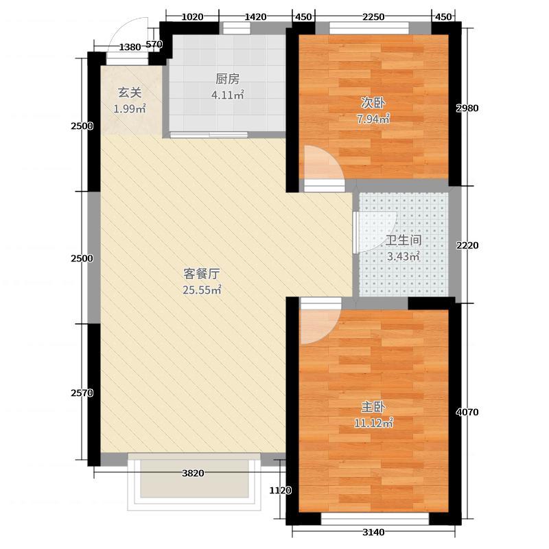 中央公园86.00㎡A户型2室2厅1卫1厨