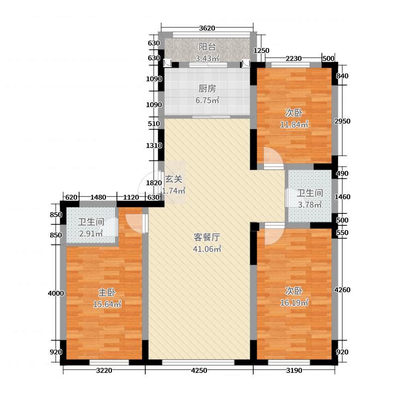 圣海翠湖园149.00㎡户型3室3厅2卫1厨