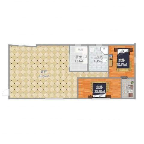 嘉华东花园7381912室1厅1卫1厨103.00㎡户型图