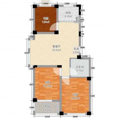 翡翠城3室2厅1卫1厨91.00㎡户型图