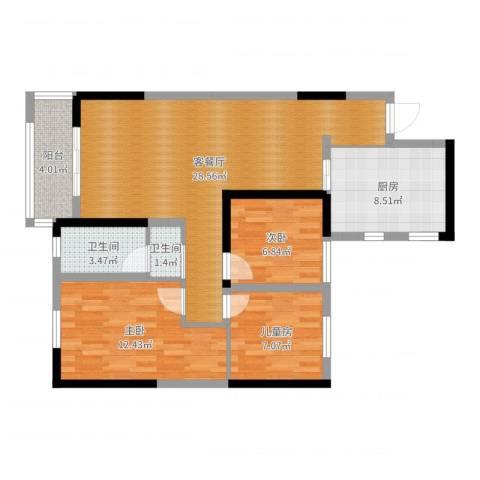 旭辉香樟公馆3室2厅2卫1厨90.00㎡户型图