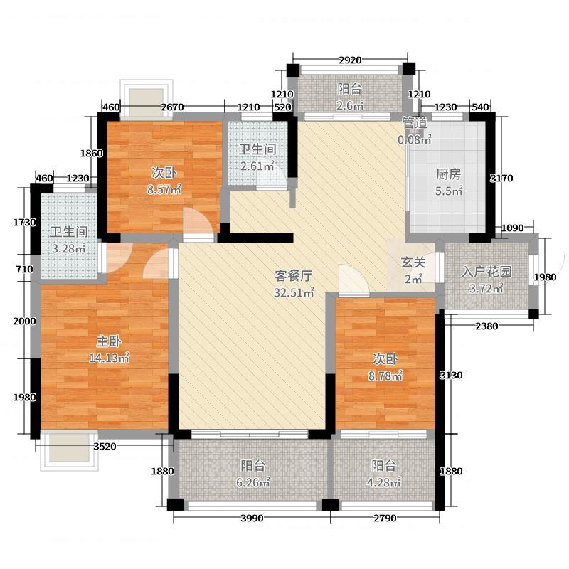 盛世华府115.55㎡新舒适景观1户型3室3厅2卫1厨