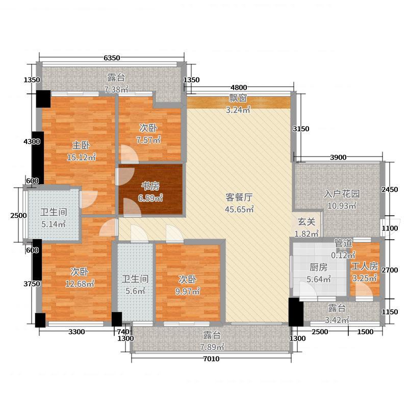 锦绣御园153.00㎡二期5栋A户型6室6厅2卫1厨