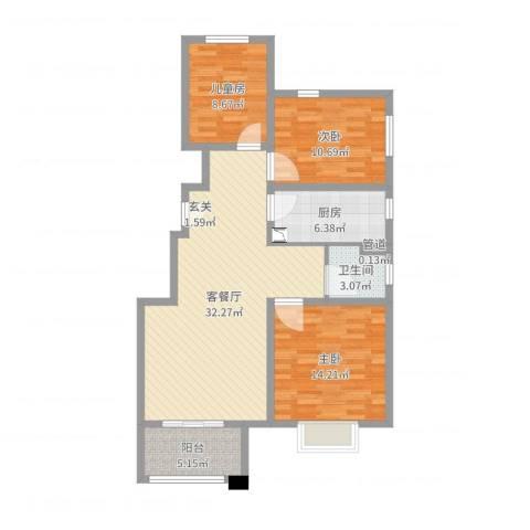 花桥繁华里3室2厅1卫1厨101.00㎡户型图
