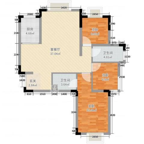 翡翠城3室2厅2卫1厨99.00㎡户型图