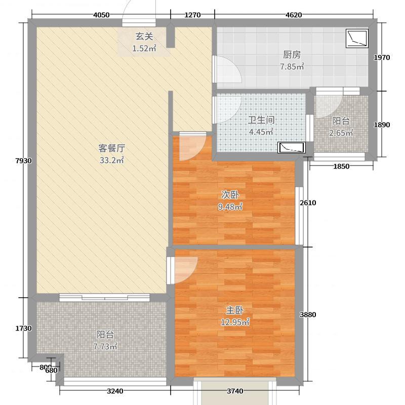 恒大名都97.97㎡3号楼1单元户型2室2厅1卫