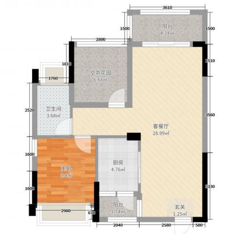 合信地王广场1室2厅1卫1厨78.00㎡户型图