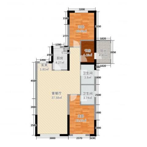 美的城3室2厅2卫1厨112.00㎡户型图