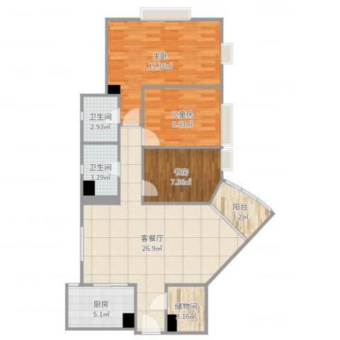 海珠半岛花园3室2厅2卫1厨95.00㎡户型图