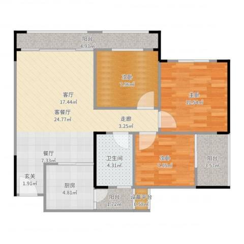 梦里水乡3室2厅1卫1厨88.00㎡户型图