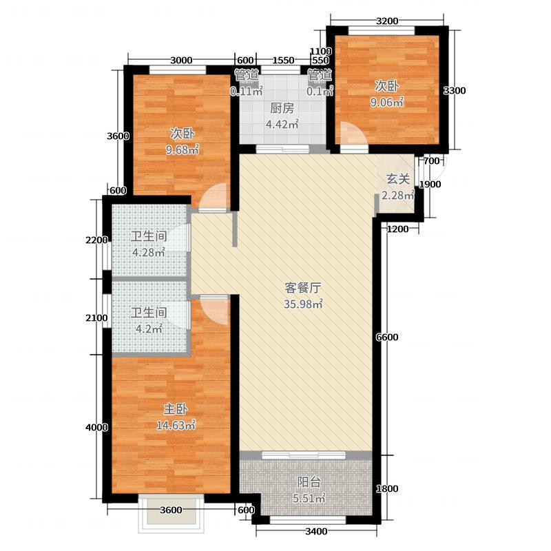 兰石・豪布斯卡129.28㎡G区C-1户型3室3厅2卫1厨