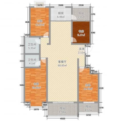 华荣・东方明珠4室2厅2卫1厨189.00㎡户型图