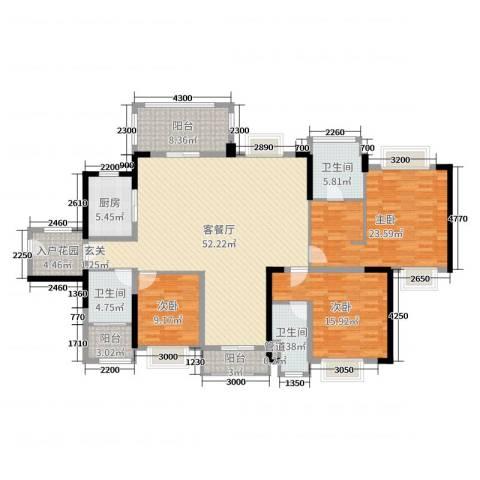 西湖怡景园二期3室2厅3卫1厨168.00㎡户型图