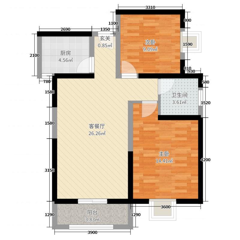 新福兴・纽约城88.08㎡7号楼C户型2室2厅1卫1厨