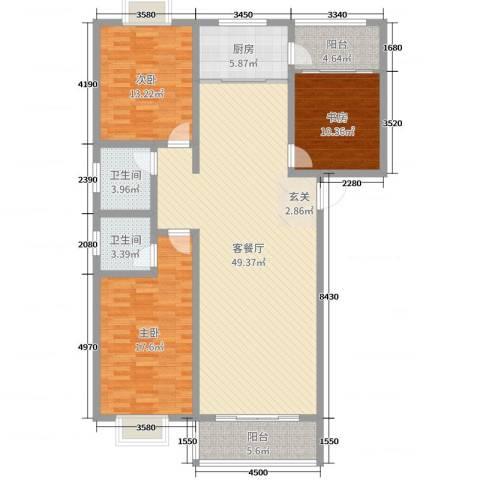 华荣・东方明珠3室2厅2卫1厨141.00㎡户型图