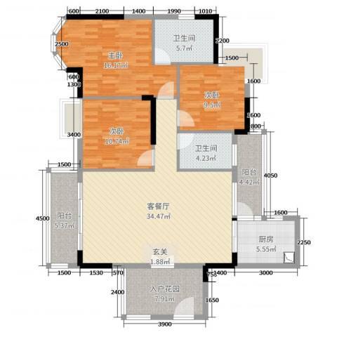 金沙假日广场3室2厅2卫1厨122.00㎡户型图