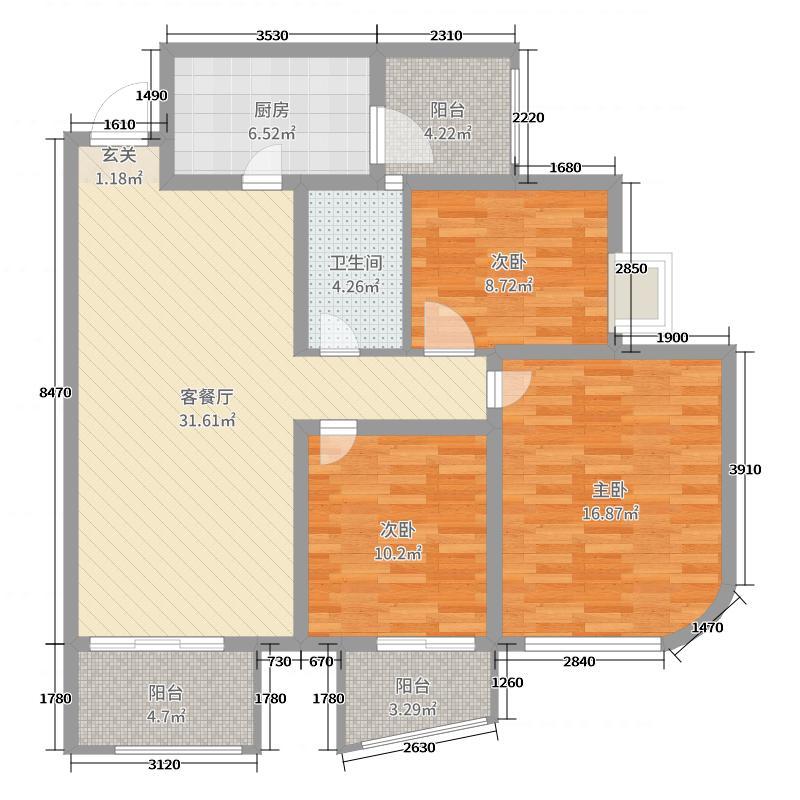 百乐门113.00㎡1、2号楼C户型3室3厅1卫1厨