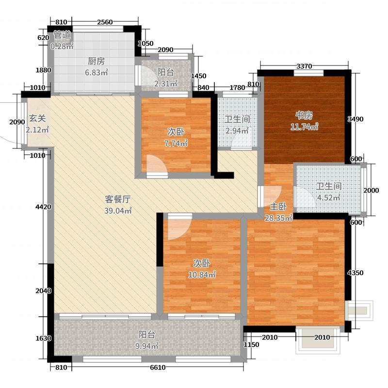 中南御锦城125.00㎡四期高层户型4室4厅2卫1厨