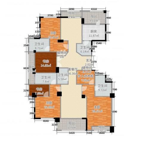 百合花园5室2厅5卫1厨316.00㎡户型图